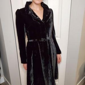 Zara longline velvet jacket ruff collar